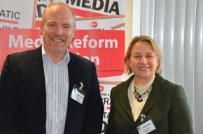 Dr David McQueen and Natalie Bennett at the post-Leveson conference