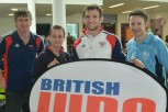 from L-R: Steve Hammond, regional development officer for British Judo; student and judoka Roxanne Blanks; Team GB judo star Tom Reed; and Chris Payne, Sport Activator at BU