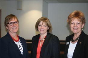 Professor Gail Thomas, Jane Cummings and Professor Elizabeth Rosser at the Phi Mu Conference