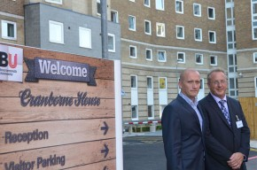 Cranborne House Project Manager Marcin Grabowski (left) and BU Vice-Chancellor Professor John Vinney outside the newly refurbished Cranborne House Halls of Residence