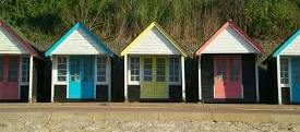 Bournemouth beach huts in summer