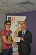 Prize winner Joshua Page with Professor John Vinney