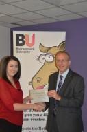 Prize winner Kate Ibbotson with Professor John Vinney